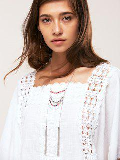 Chain Tassel Necklace And Earrings - Silver