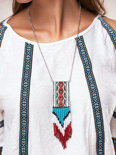 Knitted Bead Tassel Necklaces - Blue
