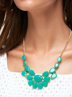 Teardrop Faux Gem Necklace - Verdigris