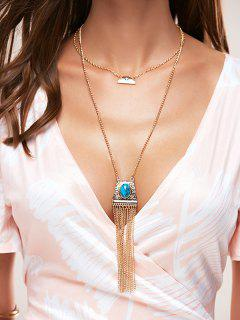 Faux Turquoise Fringe Sweater Chain - Golden