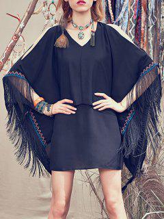 Fringed Chiffon Poncho Dress - Black S