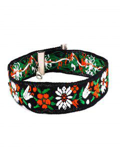 Flower Embroidery Chokers Necklace - Black