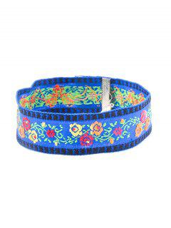 Floral Embroidery Chokers Necklace - Blue