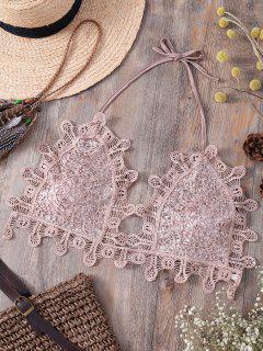 Halter Sequins Embellished Lace Camisole - Light Pink S