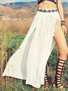 High Slit Embroidered Ethnic Skirt - White S
