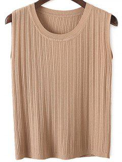 Knitted Pure Color Tank Top - Khaki