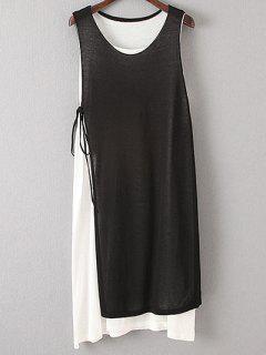 Double Layer Sweater Dress - Black