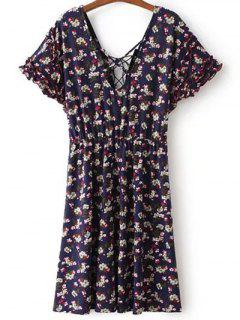 Lace Up V Neck Short Sleeve Tiny Floral Print Dress - Purplish Blue M