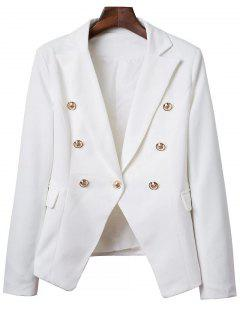 Lapel Collar Solid Color Long Sleeve Buttons Blazer - White S