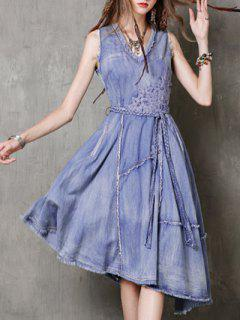 V Neck Sleeveless Embroidered Fringe Denim Dress - Blue L