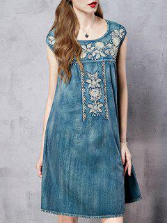 Round Neck Sleeveless Retro Floral Embroidery Dress - Blue M