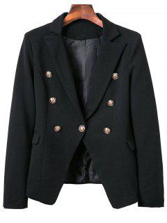 Lapel Collar Long Sleeve Solid Color Buttons Blazer - Black S