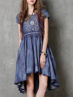 Round Neck Short Sleeve Vintage Embroidery Dress - Blue S