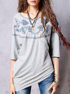 Sweetheart Neck 3/4 Sleeve Ethnic Embroidery T-Shirt - Smoky Gray