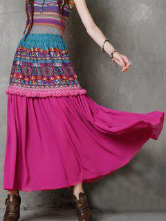 High Waist Ethnic Style Fringe Printed Skirt - Rose Red