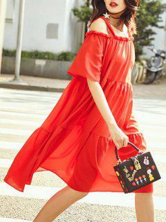 A-Line Tiered Dress - Red