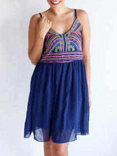 Spaghetti Straps Color Block Print Dress - Purplish Blue Xl