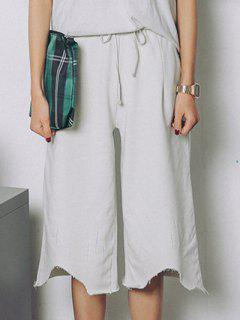 Raw Edge Wide Leg Pants - Pink