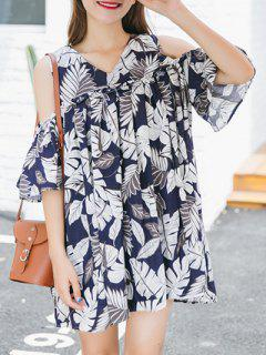 Leaf Print Cutout Shoulder Dress - Blue And White