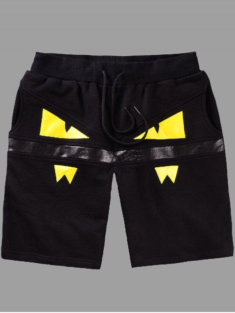 outfit Elastic Straight Leg Eyes Printing Shorts For Men - YELLOW L Mobile