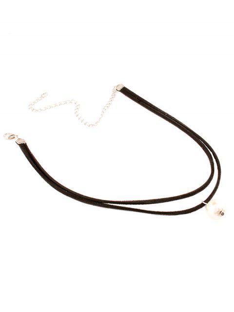 collier marcotté a perles - Blanc  Mobile