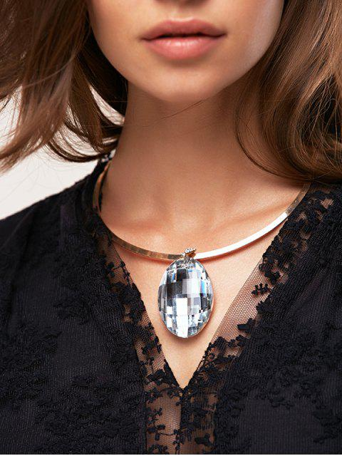 chic Rhinestone Oval Necklace -   Mobile