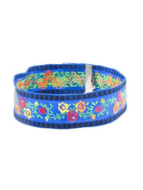 new Floral Embroidery Chokers Necklace - BLUE  Mobile