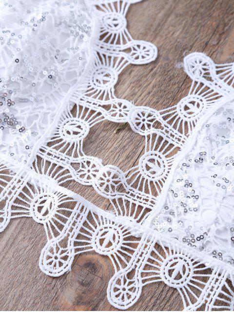 fashion Sequins Embellished Halter Lace Camisole - WHITE L Mobile