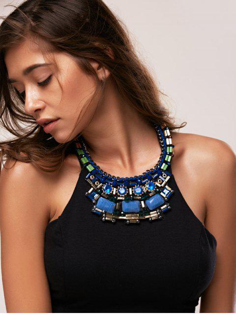 fancy Faux Gem Necklace - BLUE  Mobile