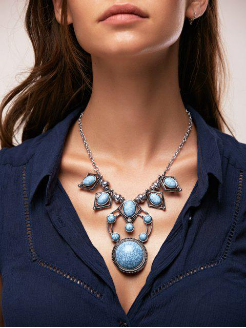 women Faux Turquoise Rhinestone Necklace - SILVER  Mobile