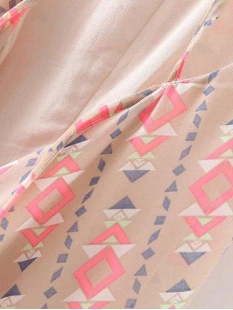 fashion Geometric Print Spaghetti Straps Backless Dress - APRICOT M Mobile
