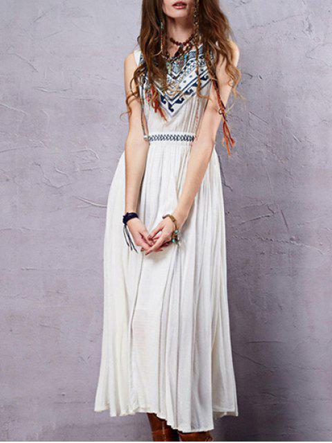 Sin mangas cuello redondo vestido del tanque de bordado - perla Blanca L Mobile
