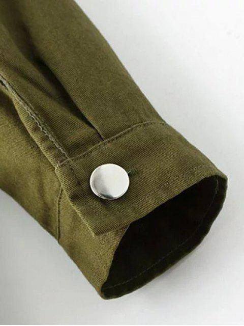 Imprimer Patchwork shirt manches longues col Romper - Vert Armée S Mobile