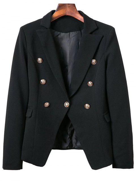trendy Lapel Collar Long Sleeve Solid Color Buttons Blazer - BLACK M Mobile