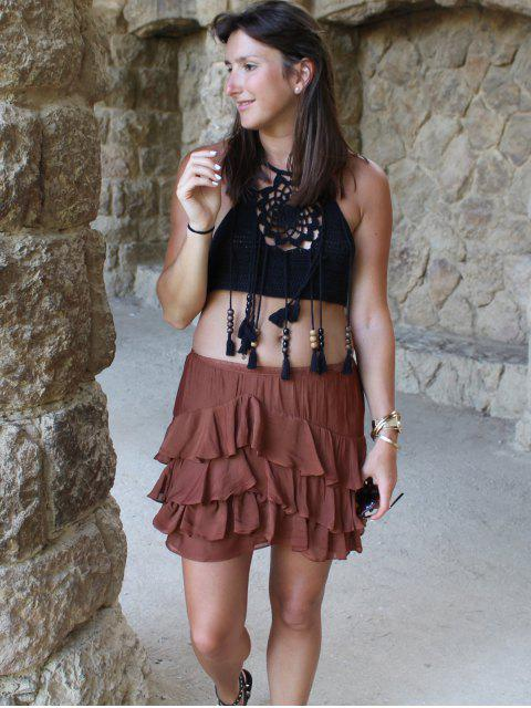 lady Halter Tasselled Crochet Crop Top - BLACK ONE SIZE(FIT SIZE XS TO M) Mobile