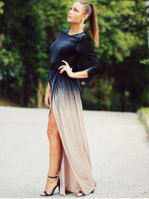 women's High Slit Long Sleeves Gradient Color Dress - BLACK S Mobile