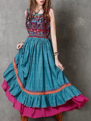 Round Neck Sleeveless Printed Ethnic Style Dress - Turquoise S
