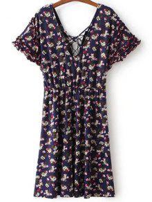Lace Up V Neck Short Sleeve Tiny Floral Print Dress - Purplish Blue L