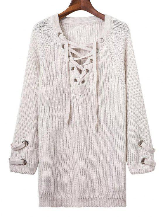 shop Lace Up V Neck Solid Color Sweater - WHITE ONE SIZE