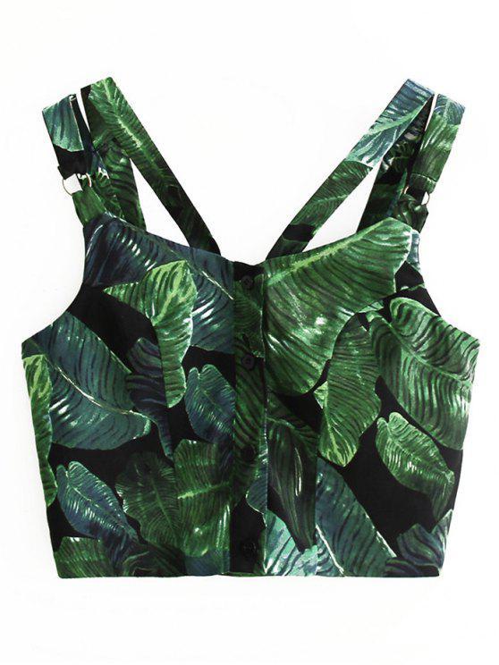 Sangles Single-breasted Leaves Imprimer Crop Top - Vert S