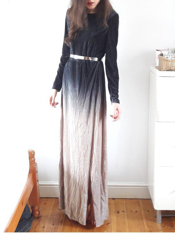 fashion Side Slit Long Sleeve Gradient Color Dress - BLACK XL