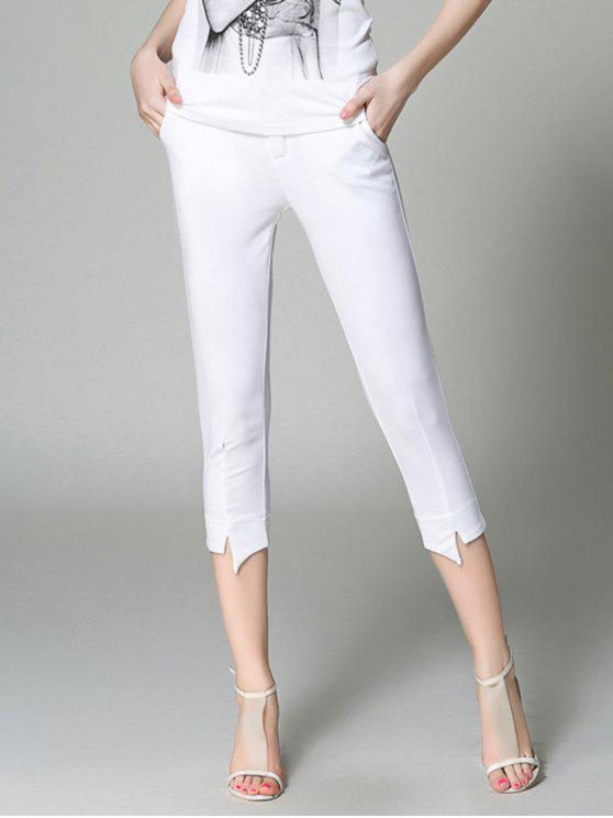 hot Slimming Solid Color Pencil Capri Pants - WHITE S