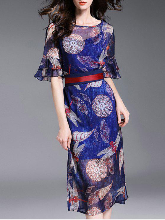 Vestido de Cami y Impreso gasa vestido de Twinset - Azul L