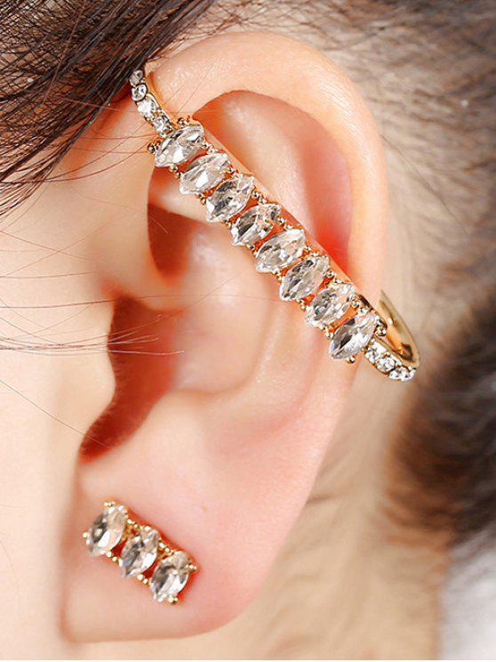 Sparkly strass manchette boucles d'oreilles - Or
