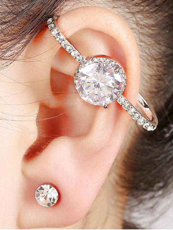 ladies Fake Zircon Cuff Earring - SILVER