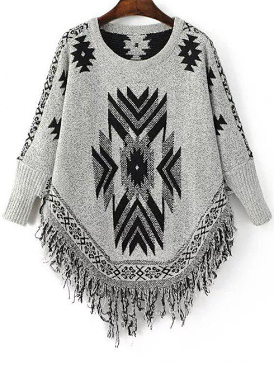 ladies Geometric Tassels Round Neck Long Sleeve Jumper - BLACK AND GREY ONE SIZE