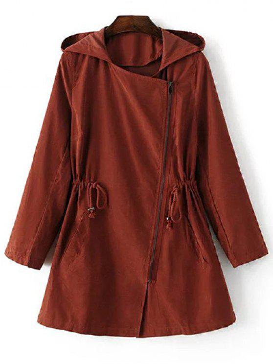 womens Solid Color Hooded Drawstring Inclined Zipper Coat - LATERITE S