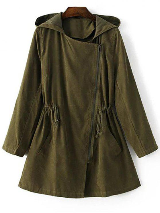 women's Solid Color Hooded Drawstring Inclined Zipper Coat - ARMY GREEN M