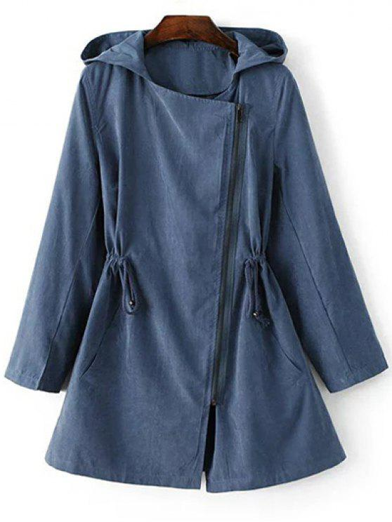 lady Solid Color Hooded Drawstring Inclined Zipper Coat - BLUE L