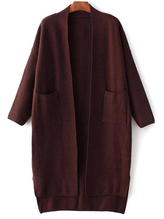 Manga larga Bolsillos color sólido Cardigan - Rojo purpúreo Única Talla